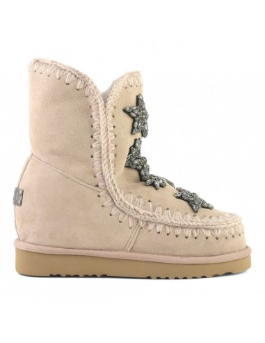 MOU Short Eskimo Boots, Inner Wedge, Crystal Stars, Rose Beige - altamoda.shop