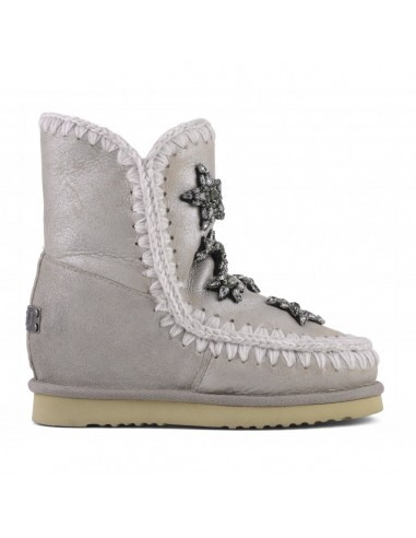 MOU Short Eskimo Boots, Stone Metallic, Crystal Stars, Inner Wedge - altamoda.shop