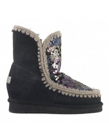 Bottes esquimaudes MOU Short à semelles compensées, noires, paillettes multicolores - altamoda.shop