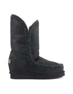 MOU Eskimo Inner Wedge Boots Tall in Colour Cracked Black - altamoda.shop