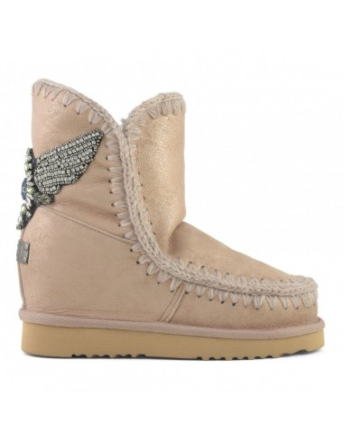 MOU Eskimo Inner Wedge Short Boot with Eagle Patch in Dust Rose Beige- altamoda.shop