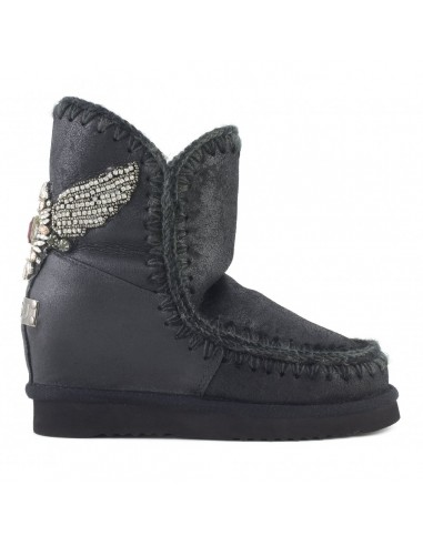 MOU Eskimo Inner Wedge Short Boot with Eagle Patch in Black - altamoda.shop
