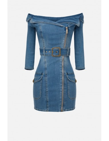 Elisabetta Franchi dress in denim with bateau neckline - altamoda - AJ11S01E2