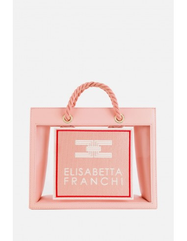 Bolsa mediana Elisabetta Franchi con inserciones de PVC - altamoda.shop - BS30A01E2