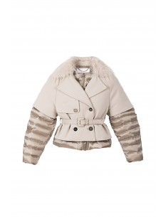 Lined Down Jacket in Color Oats - Elisabetta Franchi