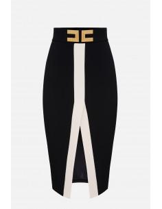 Elisabetta Franchi midi-skirt with logo - altamoda.shop - GO37601E2