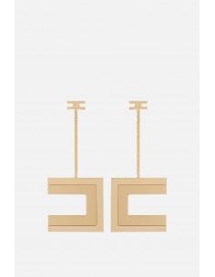 Elisabetta Franchi brincos pendurados com logotipo - altamoda.shop - OR05A01E2