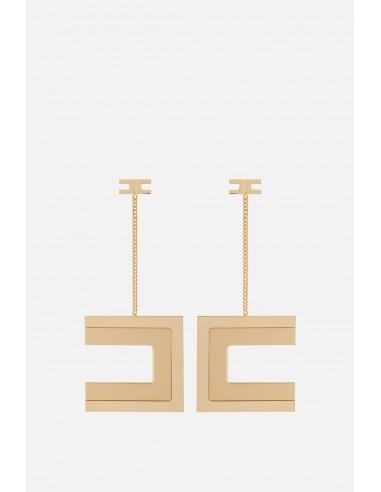 Boucles d'oreilles suspendues Elisabetta Franchi avec logo - altamoda.shop - OR05A01E2
