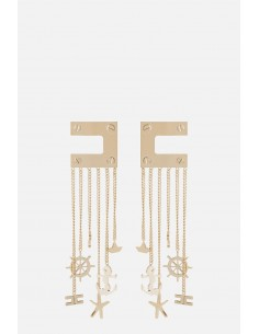 Boucles d'oreilles Elisabetta Franchi avec logo et chaîne - altamoda.shop - OR23A01E2