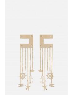 Elisabetta Franchi kolczyki z logo i łańcuszkiem - altamoda.shop - OR23A01E2