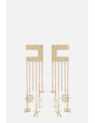 Brincos Elisabetta Franchi com logotipo e corrente - altamoda.shop - OR23A01E2
