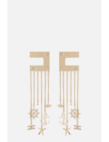 Pendientes Elisabetta Franchi con logo y cadena - altamoda.shop - OR23A01E2