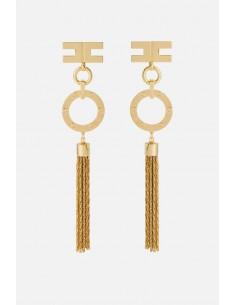 Boucles d'oreilles Elisabetta Franchi suspendues avec franges - altamoda.shop - OR28B01E2