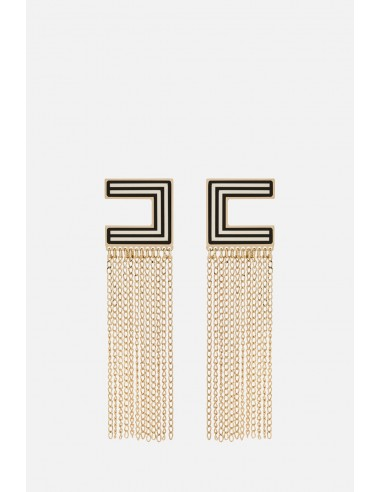 Pendientes Elisabetta Franchi con cadenas como flecos - altamoda.shop - OR2MC01E2