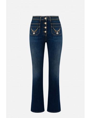 Elisabetta Franchi jeans com botões - altamoda.shop - PJ64I01E2