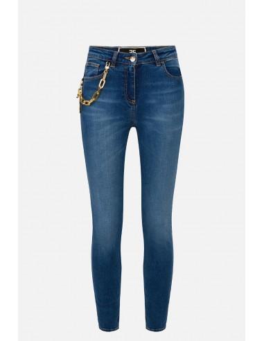 Elisabetta Franchi jeans with charm pendants - altamoda.shop - PJ70S01E2