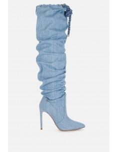 Elisabetta Franchi Overknee-Stiefel aus Denim - altamoda.shop - SA68B01E2