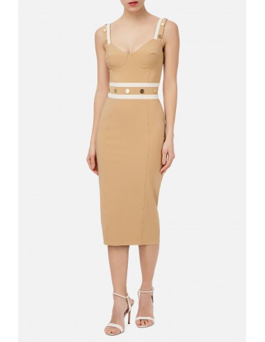 Sheath dress with contrasting inserts