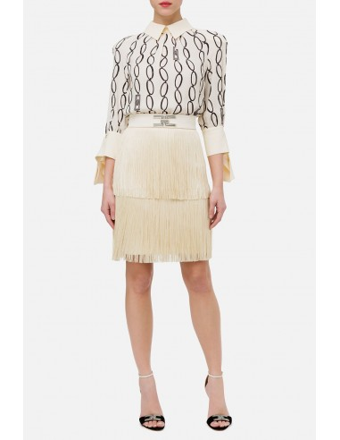 Elisabetta Franchi short dress with fringes - altamoda.shop - AB14401E2