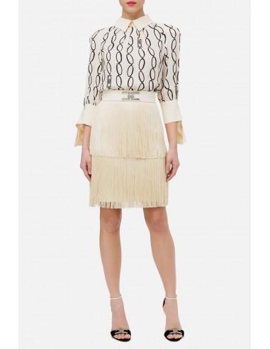 Vestido corto de Elisabetta Franchi con flecos - altamoda.shop - AB14401E2