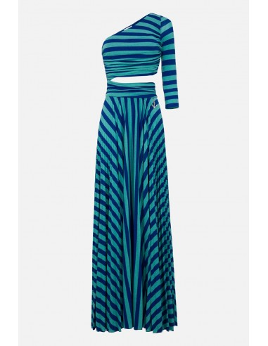 Elisabetta Franchi long dress with stripe print - altamoda.shop - AB22401E2