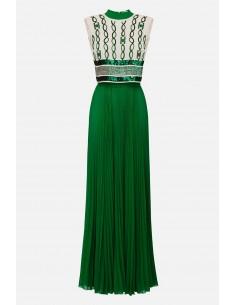 Elisabetta Franchi Vestido comprido plissado - altamoda.shop - AB22601E2
