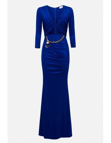 Elisabetta Franchi long dress with cut - altamoda.shop - AB22701E2