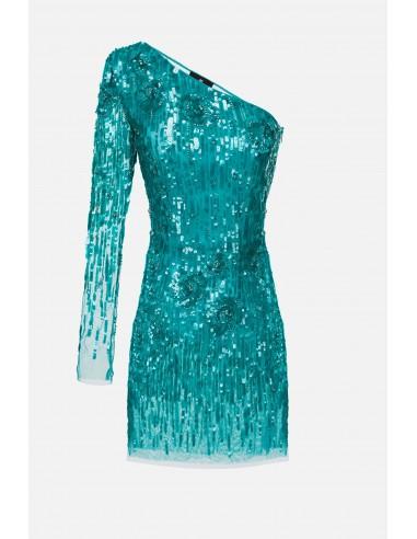 Elisabetta Franchi Sukienka jednoramienna z haftem - altamoda.shop - AR57J01E2
