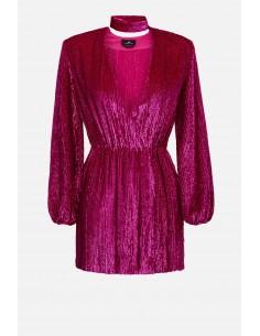 Elisabetta Franchi haftowana sukienka z paskiem - altamoda.shop - AR59A01E2