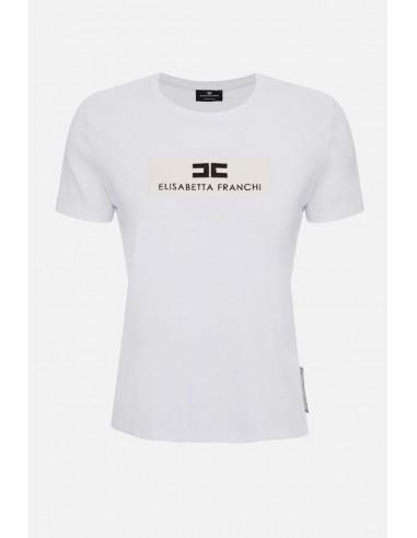 Elisabetta Franchi Basic T-Shirt mit Logo - altamoda.shop - MA18201E2
