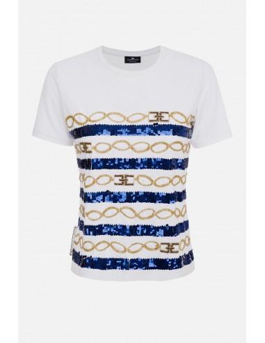 Elisabetta Franchi Krótki haftowany t-shirt - altamoda.shop - MR01A01E2