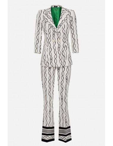 Pantalon Elisabetta Franchi avec impression de chaîne - altamoda.shop - TP03101E2