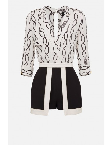 Elisabetta Franchi Kurzer Jumpsuit mit Ketten-Print - altamoda.shop - TU22201E2