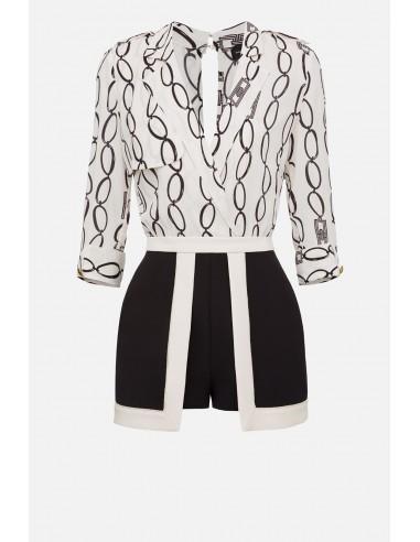 Elisabetta Franchi short jumpsuit with chain print - altamoda.shop - TU22201E2