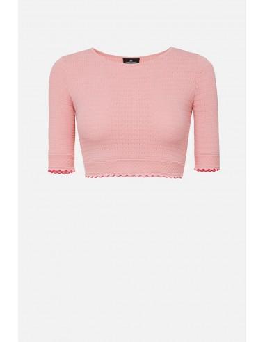 Elisabetta Franchi knitted top with festoons - altamoda.shop - MK41B01E2