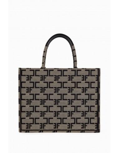 Bolsa Elisabetta Franchi con patrón de monograma tamaño M - altamoda.shop - bsc3890ec