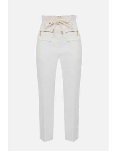Elisabetta Franchi gabardine pants with belt - altamoda.shop - PA07801E2