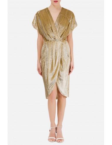 Vestido de embrulho com bordado