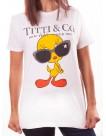 """Fuck Your Fake T-Shirt z nadrukiem z przodu """"Titti und Co"""", z tweetem i okularami słonecznymi"""