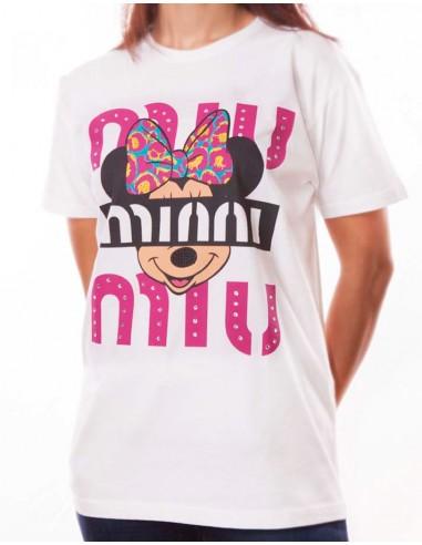 """Foda-se a sua T-Shirt falsa com impressão na frente """"MIU MIU Minni"""", com o rato Minni"""