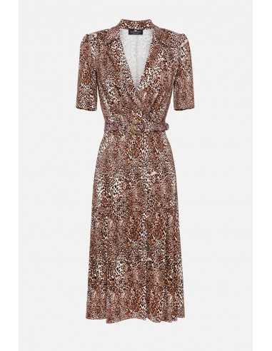 Elisabetta Franchi Spotted midi dress with belt - buy online - AB00406E2