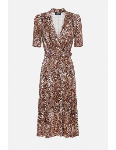 Elisabetta Franchi Spotted vestido midi com cinto - compre online - AB00406E2