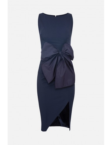 Pencil dress with bow and slit