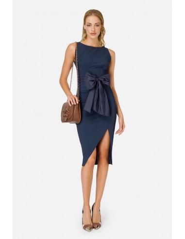 Elisabetta Franchi Pencil dress with bow and slit - altamoda.shop - AB01806E2