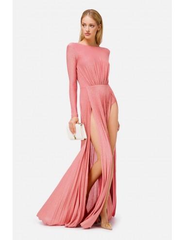 Elisabetta Franchi Long pleated dress with slits - altamoda.shop - AB06106E2