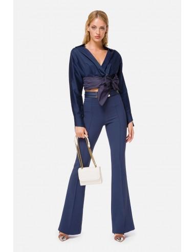 Blusa de satén Elisabetta Franchi con un maxi lazo en la cintura - altamoda.shop - CA29806E2