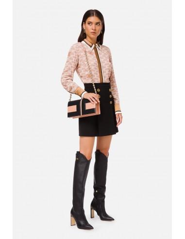 Blusa Elisabetta Franchi con impresión del logo y ribetes en contraste - altamoda.shop - CA30306E2