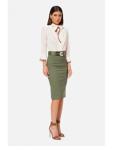 Elisabetta Franchi Calf-length skirt with logoed belt - altamoda.shop - GO42506E2