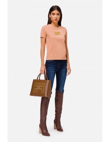 Camiseta de Elisabetta Franchi con el logo bordado - altamoda.shop - MA15906E2