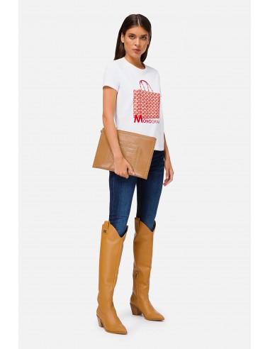 Camiseta de Elisabetta Franchi con estampado de bolsa de Monograma - altamoda.shop - MA19906E2